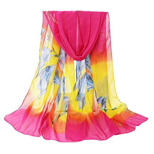 HYIRI Moisture Wicking Fashion Women Flower Print Long Soft Wrap Scarf Simulation Silk Shawl Scarves