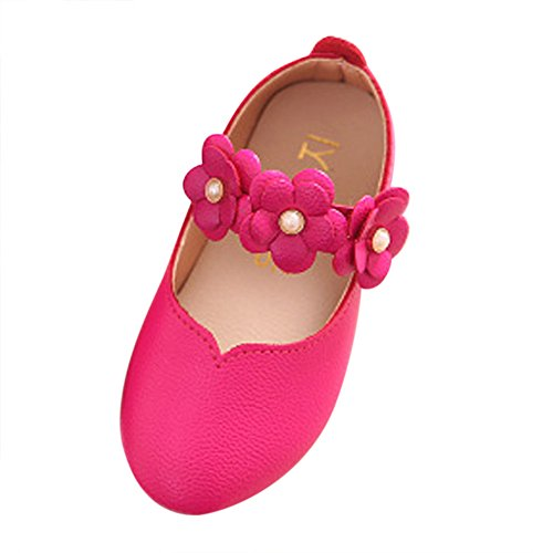 Toddler Baby Girls Kids Princess Shoes 1-8 Years Old,Children Cut-Outs Pearl Flower Single Casual Flat Shoes (5.5-6 Years Old, Hot Pink)]()