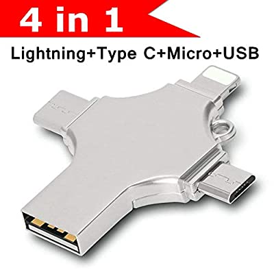 Hopkog Lightning iOS Micro USB c Android Flash Drive 32g Thumb Drive OTG Memory Stick 4 in 1 External Storage Compatible Support iPhone 6s 8 Plus 5s 7 iPad Dual Samsung Phones MacBook Devices