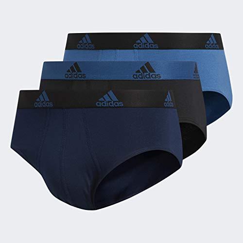 adidas Men's Stretch Cotton Brief Underwear (3-Pack), Collegiate Navy/Black Black/Core Blue Core Blue/Bl, LARGE