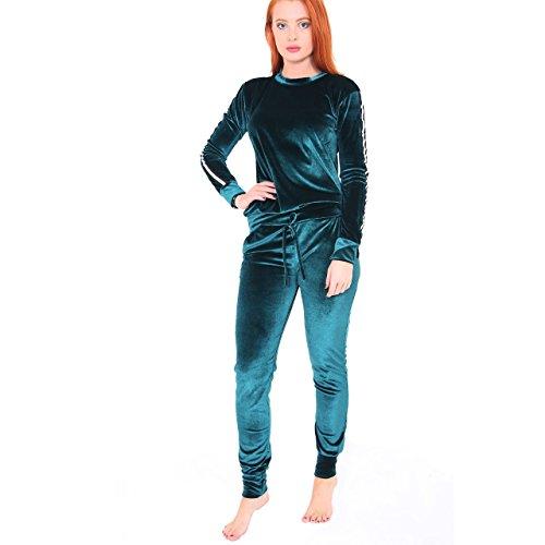Ladies Stripe Panel Velour Loungewear Two Piece Coordinat...
