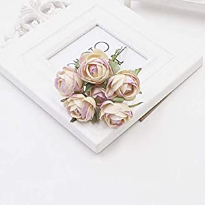 GSD2FF 6 Units/lot Mini Rose Silk Rose Artificial Flowers Paper Flowers Decoration Scrapbooking Flower Bouquet,Champagne 13