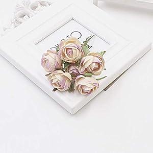 GSD2FF 6 Units/lot Mini Rose Silk Rose Artificial Flowers Paper Flowers Decoration Scrapbooking Flower Bouquet,Champagne 101