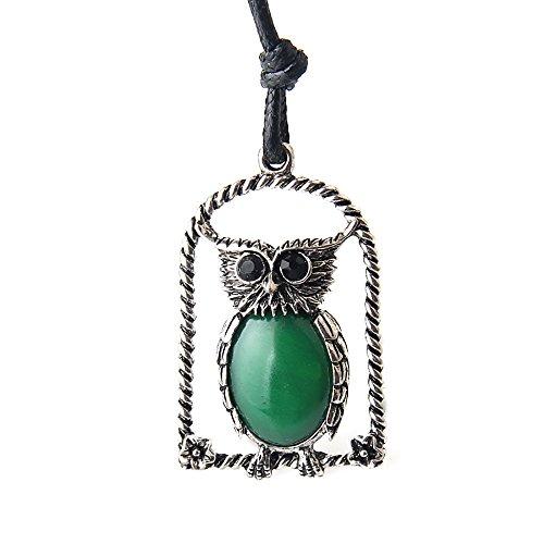 JOYMIAO Boli Tie for Men Native American Owl Emerald Ancient Silver Leather Necklace Cowboy Neckties