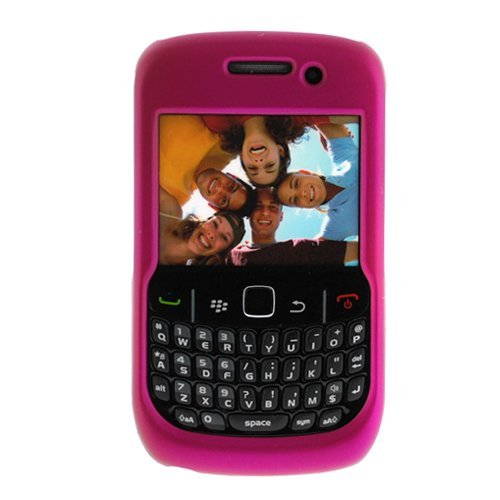Evecase Hot Pink Rubber Hard Snap On Crystal Cover Case for RIM BlackBerry 8520 8530 Curve Cell Phone