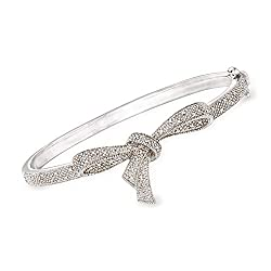 Diamond Bow Bangle Bracelet in Sterling Silver
