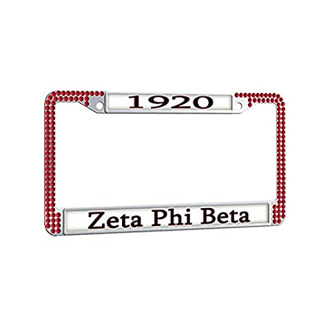 Amazon.com: Zeta Phi Beta License Plate Frame,Sorority Red ...