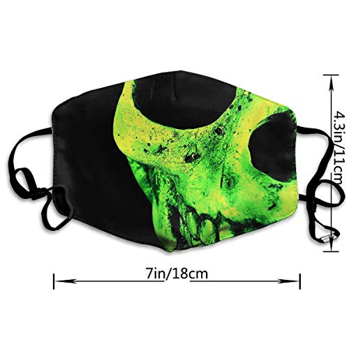 AAA.Yongfugui Green Skull Unisex Anti-Dust Mouth Mask Face Mask,Anti Bacterial Washable,Reusable Masks Warm Windproof Mask Fashion Outdoor Face Masks with Design