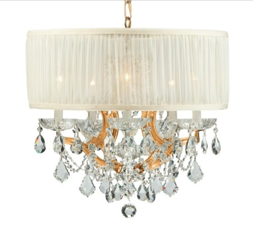 Gd Cls Crystorama Lighting (Crystorama 4415-GD-SAW-CLS Brentwood - Six Light Mini Chandelier, Choose Finish: Gold, Shade Options: Silk Antique White)