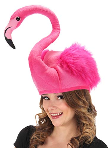 Neon Pink Flamingo Costume Plush Hat by -