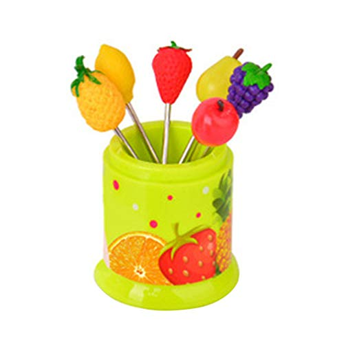 BESTONZON 6 pcs Creative Lovely Stainless Steel Dazzle Fruit Fork for Kitchen Party Use Green Fork Canister for Kitchen Party