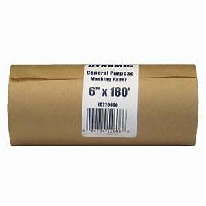 Dynamic LD220600 6-Inch x 180-Feet Painter's Masking Paper Dispenser Rolls, 30 Pound Stock