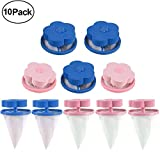 AKIMPE Floating Lint Mesh Bag Washing Machine Flower-Type Hair Catcher Reusable Trap Portable Washer Filter Net Pouch for Household Tool 10 Pieces Pink 2 Blue 2