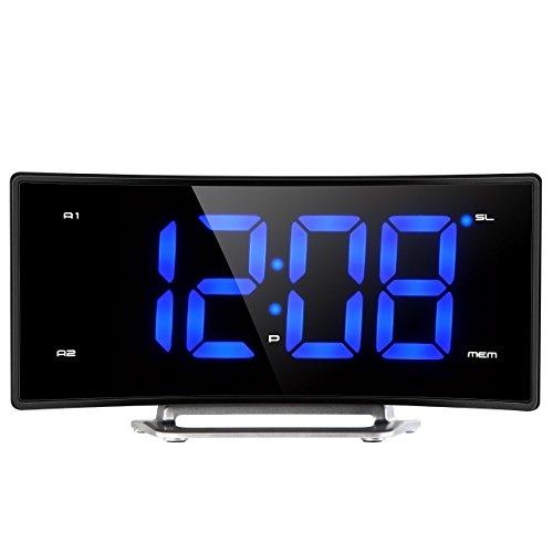 Projection Clock, Pictek FM Projection Alarm Clock, Curved-Screen Digital FM Clock Radio with Dual Alarms, 2