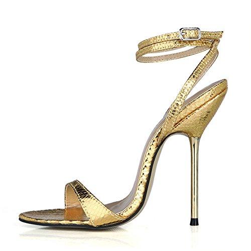 sandalias de vida Rubio alto los serpiente con tacón Piel multa del con nocturna oscuro de banquete la hierro zapatos femeninas Muestra de TZn5wqxXx