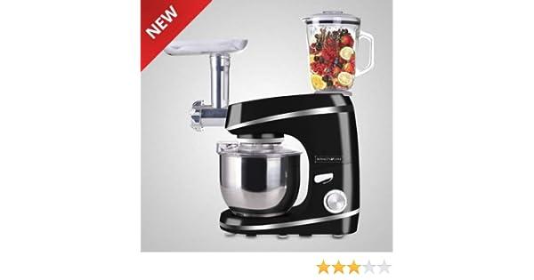 Royalty Line - Robot de cocina multifunción, batidora de cristal, amasadora, picadora de carne, color negro: Amazon.es: Hogar