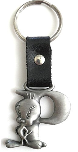 Tweety Bird Pewter Keychain Letter P (Tweety Bird Key Ring)