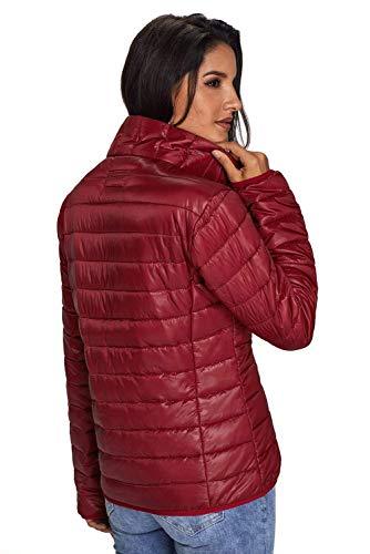 Empaquetado Manga Slim Moda Color Battercake Acolchada Rojo Abajo De Mujer Alto Cuello Elegante Chaqueta Abrigo Invierno Fit Larga qqp68xwtv