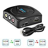 RCA to HDMI Converter, KUYIA 1080P Mini RCA Composite CVBS AV to HDMI Video Audio Adapter with USB Charge Cable Supporting PAL/NTSC for PC TV STB Xbox Wii PS4 PS3 VHS VCR Camera Nintendo N64 (Black)
