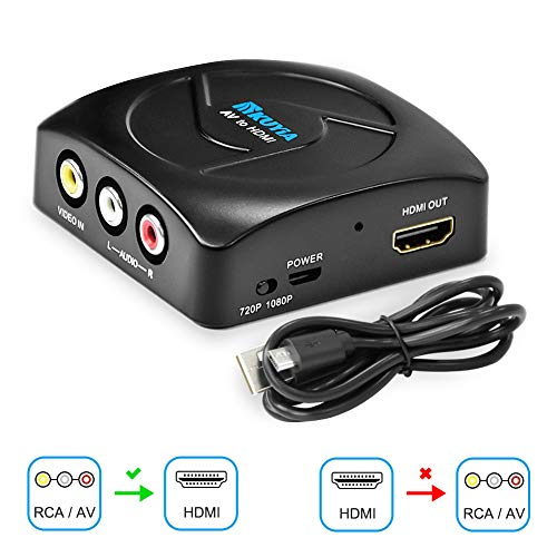 RCA to HDMI Converter, KUYIA 1080P Mini AV to HDMI Converter Composite CVBS Video Adapter with USB Charge Cable Supporting PAL/NTSC for PC TV STB Xbox Wii PS4 PS3 VHS VCR Camera Nintendo N64 (Black) ()