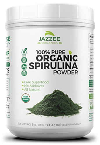 100% Pure Organic Spirulina Powder | 2.2 Pounds | Super Value | USDA Certified Organic | Non-GMO and All-Natural | Mess-Free Wide Mouth Container | Vegetarian / Vegan