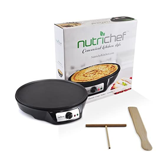 "NutriChef Electric Griddle & Crepe Maker | Nonstick 12 Inch Hot Plate Cooktop | Adjustable Temperature Control | Batter Spreader & Wooden Spatula | Used Also For Pancakes, Blintzes & Eggs (PCRM12.V7) 4 MAKE PERFECT CREPES: Concocting mouthwatering crepes and blintzes is simple with the Nutrichef Electric Griddle The 12"" inch cooking diameter is perfect for cooking traditional crepes VERSATILE COOKING TOOL: In addition to crepes, this griddle is great for making all your breakfast favorites Whip up evenly cooked pancakes, blintzes, eggs & bacon for the whole family COMPACT & CONVENIENT DESIGN: This electric hot plate is small enough to make storage & travel simple Safe for any countertop, kitchen top & table top"