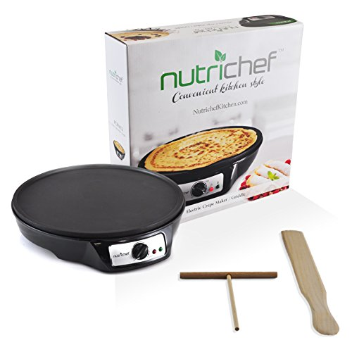NutriChef Electric Griddle & Crepe Maker | Nonstick 12 Inch Hot Plate Cooktop | Adjustable Temperature Control | Batter Spreader & Wooden Spatula | Used Also For Pancakes, Blintzes & Eggs (PCRM12.V7) by NutriChef (Image #3)