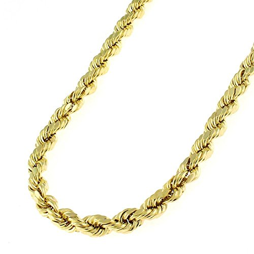 10k Yellow Gold 4mm Hollow Rope Diamond-Cut Link Twisted Chain Necklace 20'' - 30'' (20) by In Style Designz