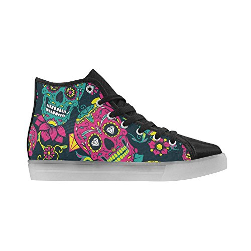 Interestprint Skallar Och Ben Lyser Upp Kvinnor Skor Blinkande Sneakers Day Of The Dead Färgsockerskalle