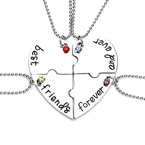 MJartoria Rhinestone Best Friends Forever and Ever Split Heart Pendant Necklace Set of 4