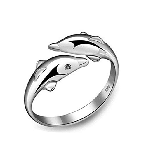 - 925 Sterling Silver Happy Double Dolphin Love Opening Ring For Women Girls Jewelry Gift