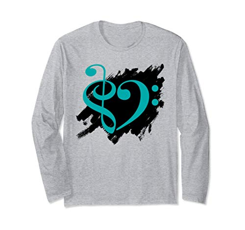 Treble Clef Bass Clef Turquoise Heart Grunge Brush Strokes Bassist Long Sleeve T-Shirt