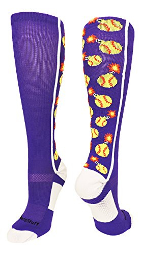 MadSportsStuff Softball Bomber OTC Socks (Purple/White, Small)
