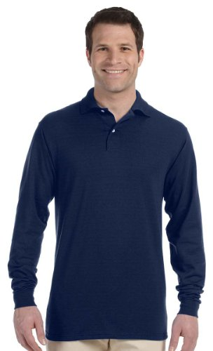 Jerzees Mens 50/50 Long-Sleeve Jersey Polo with SpotShield (437ML) -J NAVY (Navy Blue Cotton Polo Shirt)