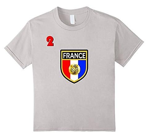 Kids France T Shirt No 2 Soccer Team Back Side Print Red 12 Silver - 2 Side Foot