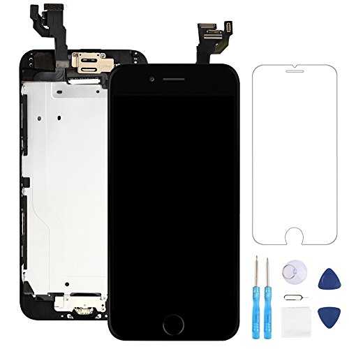 Screen Replacement for iphone 6 Black 4.7'' LCD Display Touch Digitizer Frame Assembly Full Repair Kit, with Home Button, Proximity Sensor, Ear Speaker, Front Camera, Screen Protector, Repair Tools by Fix4U