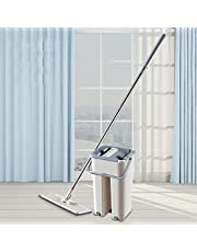 In-House Floor Mop Set, Durable Flat Mop and Mop Bucket, Mop with Stainless Steel Telescopic Pole Extendable Handle Mopstick for Household Ofiice Cleaning Beige, NA37761-1