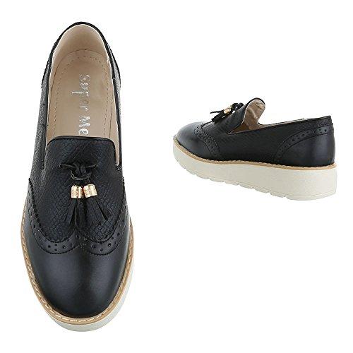 Mujer Design Ital negro Zapatillas de casa ZHTTqF8C