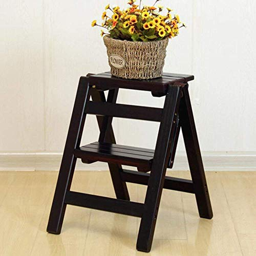 QTQZ Brisk-Wood Folding Ladder Multi-Function Household Ladder Creative Indoor Climbing Stool Two-Step Small Ladder Thicken Mobile Chair Shelf Flower Stand (3 Colors) (Color: Light Walnut)