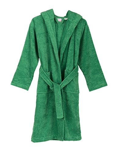 TowelSelections Big Girls Robe, Kids Hooded Cotton Terry Bathrobe Cover-up Size 8 Jelly Bean