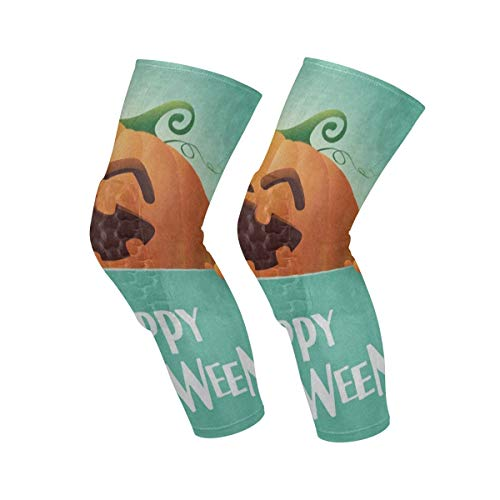 Knee Sleeve Happy Halloween Pumpkin Face Emoji Full Leg Brace Compression Long Sleeves Pant Socks for Running, Jogging, Sports, Crossfit, Basketball, Joint Pain Relief, Men and Women 1 Pair ()