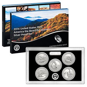 (2014 S United States Mint America the Beautiful Quarters Silver Proof SetTM)