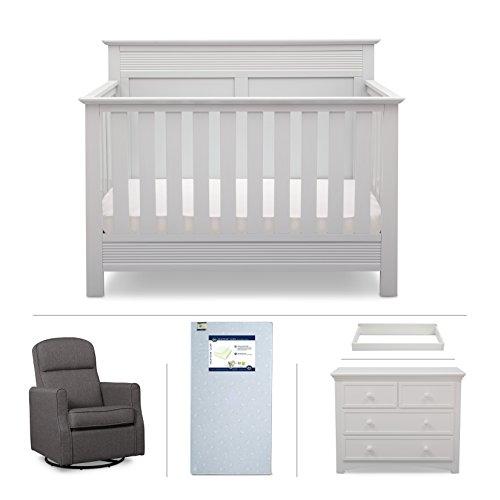 Convertible Crib Furniture Set – 5 Piece Serta Nursery with Crib Mattress, Convertible Crib, Dresser, Glider Rocker, Changing Top – - Convertible Rocker
