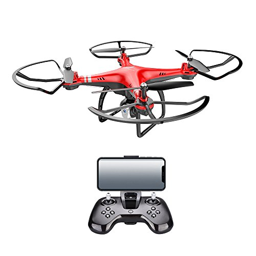 Mini RC Quadcopter FPV WiFi 720P HD Adjustable Camera Drone for Beginners Adults Kids Training Altitude Hold/Headless Mode/360 Degree Rollover/One Key take Off/Landing/Automatic Return (Red)
