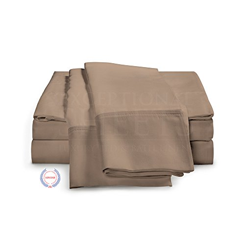 400 Thread Count Bed Sheets - 100% Long Staple Cotton Sheet Set by ExceptionalSheets, Queen, Taupe