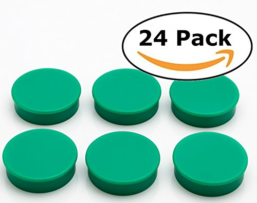 Bullseye Office Magnets (24 Pack) - Green Round, Refrigerator Magnets - Perfect as Whiteboards, Lockers, or Fridge Magnets [Green] (Green Round)