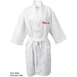 BC BARE COTTON Personalized Name Custom Thigh Lenght Waffle Kimono Robe - White - One Size