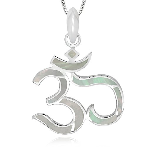 925 Sterling Silver Mother of Pearl Shell Chakra Yoga Om Aum Ohm Pendant Necklace, 18