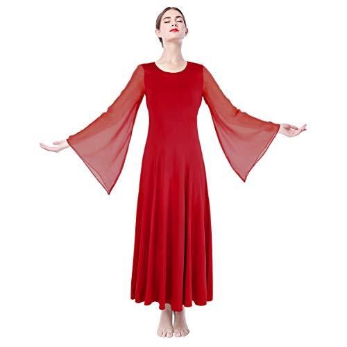 Women Adult Liturgical Praise Lyrical Dance Dress Mesh Bell Long Sleeve Worship Church Ballet Costume Loose Fit Full Length Swing Dress Celebration of Spirit Tunic Dancewear Praisewear Red M -