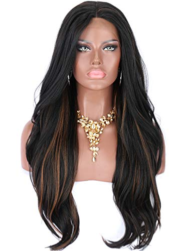 en's Body Wavy Black Wigs with Highlights Premium Yaki Futura Synthetic Hand Tited Ear to Ear Soft Lace Front Wigs for Women Natural Looking Lace Middle Parting Hairline Daily Wear ()